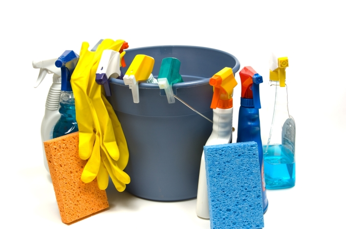 Cleaning supplies with bucket
