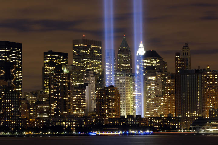 """The """"Tribute in Light"""" memorial in the years following 2001."""