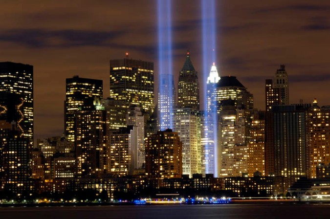 "The ""Tribute in Light"" memorial in the years following 2001."